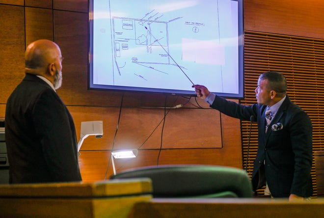Guam Police Department Detective Angel Santos IV, of the Criminal Investigation Division, points out details on a crime scene illustration during his testimony in the murder trial of Brandon Acosta at the Superior Court of Guam on March 5, 2020. Acosta is on trial for the death of 15-year-old Timicca Nauta in Dededo in June 2018.