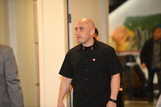 Mark Torre Jr. arrives at the Superior Court of Guam for a hearing on March 5, 2020.