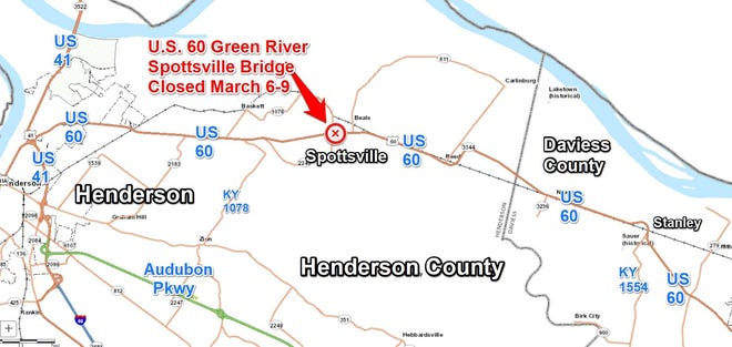 The Spottsville bridge will be closed this weekend, starting Friday evening.