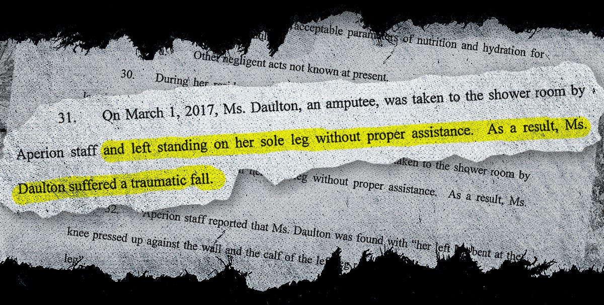 From a 2018 malpractice claim filed against Aperion Care Kokomo nursing home in the death of Sicely Daulton, 75.
