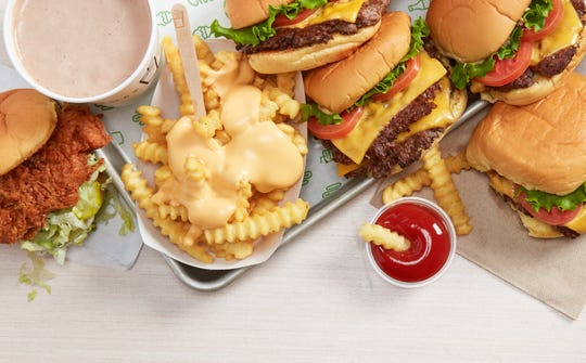 ShackBurgers, fries and a Chick'n Shack from Shake Shack