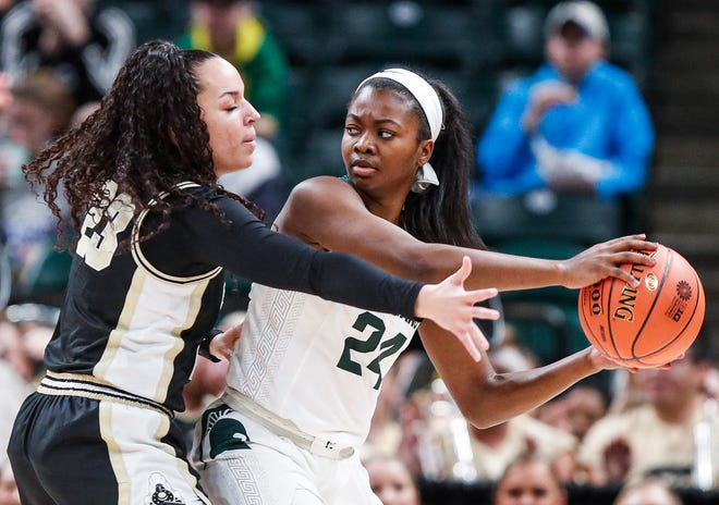 Michigan State Spartans guard Nia Clouden (24) looks past Purdue Boilermakers guard Kayana Traylor (23) to pass the ball during the Big Ten women's basketball tournament at Bankers Life Fieldhouse, Indianapolis, Thursday, March 5, 2020.
