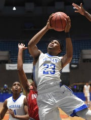 Murrah's Kenard Bowie (23) shoots against Biloxi in the semifinals of the MHSAA State Basketball Tournament on Wednesday, March 4, 2020, at the Mississippi Coliseum in Jackson, Miss.