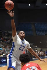 Murrah's Joseph Dupree (22) shoots against Biloxi in the semifinals of the MHSAA State Basketball Tournament on Wednesday, March 4, 2020, at the Mississippi Coliseum in Jackson, Miss.