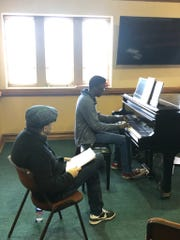 Community School of the Arts teacher Ben Maney helps student Joshua Washington become fluent in the musical language of jazz. October 3, 2017.