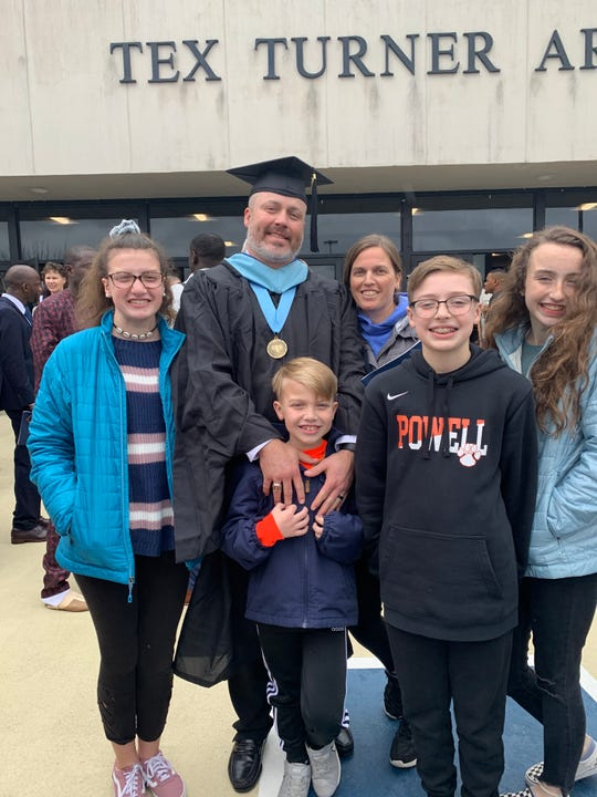Scott Clark's family – wife Erin, daughters Ashlynn and Caitlinn and sons Tanner and Trevor – shared in the joy of his graduation (administrative degree) from Lincoln Memorial University.