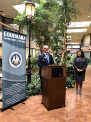 Gov. John Bel Edwards speaks at an open house for the Lafayette Regional Office of the Louisiana Department of Revenue with Louisiana Secretary of Revenue Kimberly Lewis Robinson Thursday, March 5, 2020. The Lafayette office closed in 2012 due to budget cuts and is the second regional field office in the state to be restored, with more to follow.