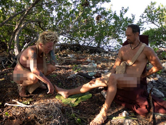 "Lisa Hagan, 48, of Lafayette takes on a 21-day challenge to survive on a string of islands in the Caribbean without provisions or clothing on an episode of ""Naked and Afraid"" that airs at 7 p.m. CT March 22 on the Discovery Channel. Here she rests with her partner on the show, Joe."