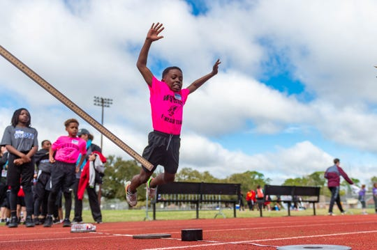 Teams of elementary students compete in the district fitness meet for a chance to represent Lafayette Parish at the state competition. Thursday, March 5, 2020.