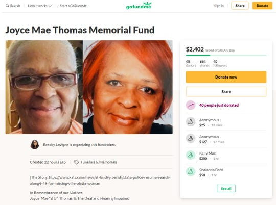 Joyce Thomas' family has created a GoFundMe to help pay with her funeral costs.