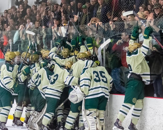 Howell hockey players celebrate with their student section following a 4-2 victory over Brighton in a regional championship hockey game on Wednesday, March 4, 2020.