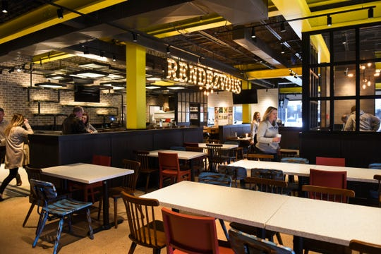 A peek inside the dining area at Buddy's Pizza, slated to open March 19 on West Saginaw Highway in Delta Township.