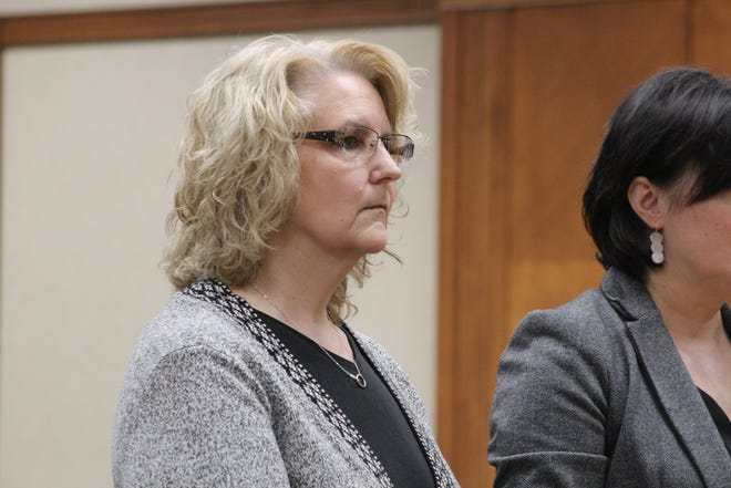 Kimberly Feldpausch, 54, of St. Johns appears at her arraignment in Clinton County District Court Thursday, March 5, 2020. She is charged with six counts of first degree criminal sexual conduct and is accused of sexually assaulting a student at St. Johns Middle School nearly 20 years ago.