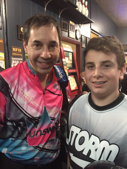 Lexington High School bowler Scott Oliver a couple of years ago with PBA Hall of Famer Parker Bohn.