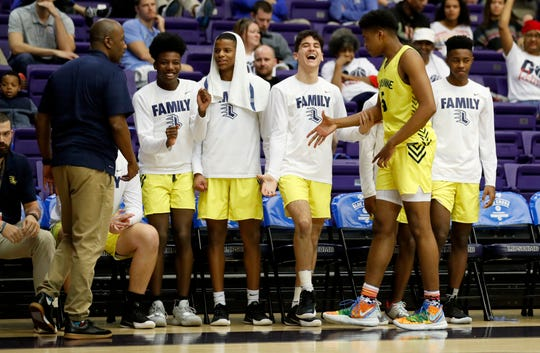 The Lausanne bench celebrates as the game clock winds down Thursday, March 5, 2020, during the TSSAA Division II State Basketball Championship semifinal against Knoxville Webb at Lipscomb University's Allen Arena in Nashville.