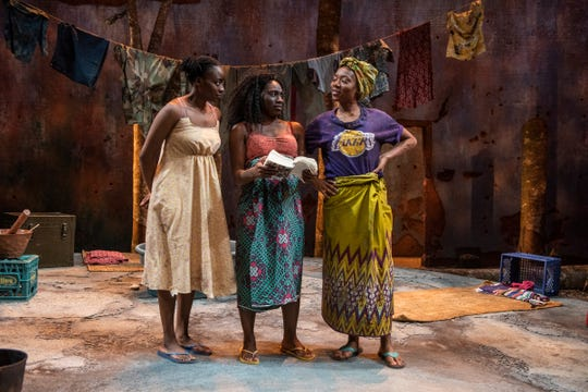 """Matty Sangare, Sola Thompson and Jacqueline Nwabueze perform in Milwaukee Repertory Theater's """"Eclipsed,"""" the last show the Rep performed before the COVID-19 pandemic closed local theaters in March."""