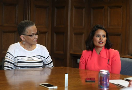 Raquel Filmanowicz, right, the new chief executive officer of the Milwaukee 2020 Host Committee, and Paula Penebaker, left, the new chief operating officer, talk with the Journal Sentinel about the upcoming Democratic National Convention.