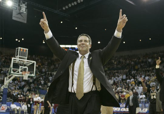 Coach Bruce Pearl celebrates UWM's  victory over Boston College in a second-round NCAA Tournament game March, 19, 2005.