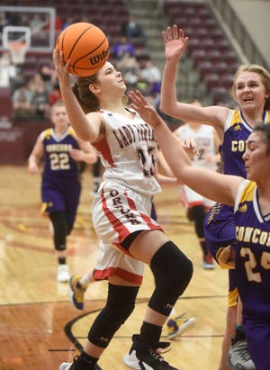 Norfork's Kylie Manes goes to the basket against Concord on Wednesday night at Lake Hamilton.