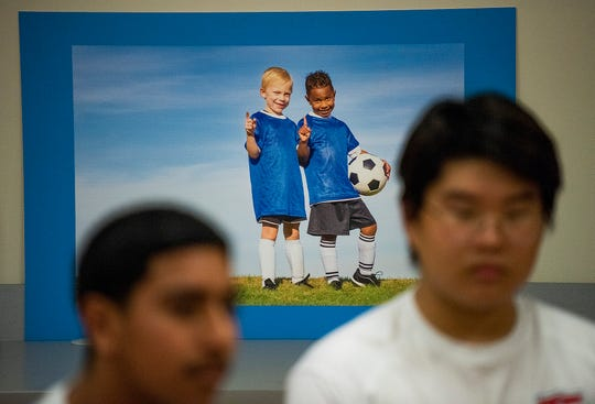 A soccer power on the wall as Park Crossing soccer player chat on the campus in Montgomery, Ala., on Thursday March 5, 2020.