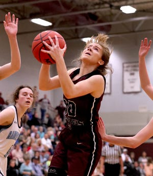 Eagleville's Haylee Ferguson goes up for a shot during a 2020 game. Ferguson scored 21 points in a loss to Central Magnet Monday.