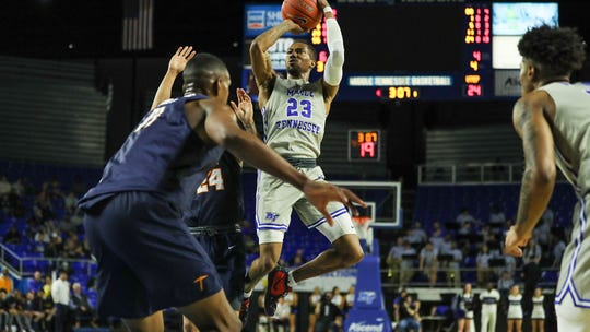 C.J. Jones (23) scored 22 points to lead MTSU in a losing effort against UTEP on Wednesday.