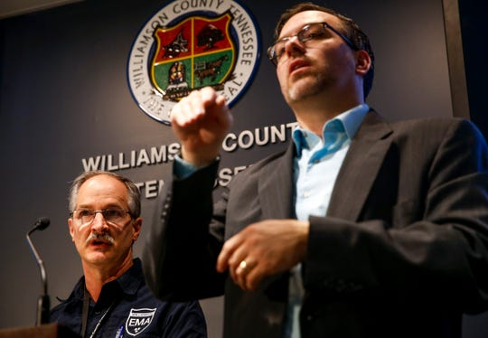 Todd Horton, Director of the Williamson County Emergency Management Agency, answers questions in a press conference about the first confirmed coronavirus (COVID-19) case in Tennessee at the Williamson County Public Safety Center in Franklin, Tenn., on Thursday, March 5, 2020.