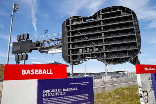 The Nashville Sounds guitar sign suffered damage to the scoreboard during a tornado early in the morning on March 3, as shown in this image taken at Sounds Stadium in Nashville, Tenn., on Thursday, March 5, 2020.