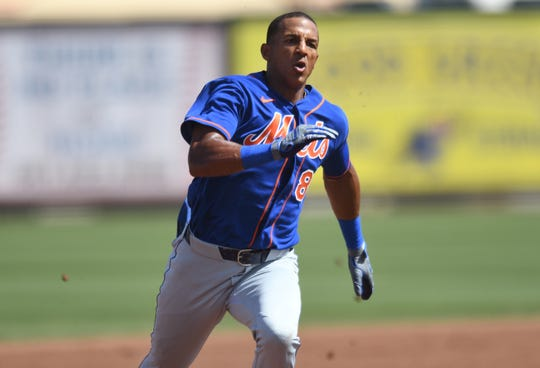 Mar 5, 2020; Jupiter, Florida, USA; New York Mets outfielder Johneshwy Fargas (81) makes his way to third base in the second inning after hitting a triple against the St. Louis Cardinals at Roger Dean Chevrolet Stadium. Fargas hits for the cycle in this game.