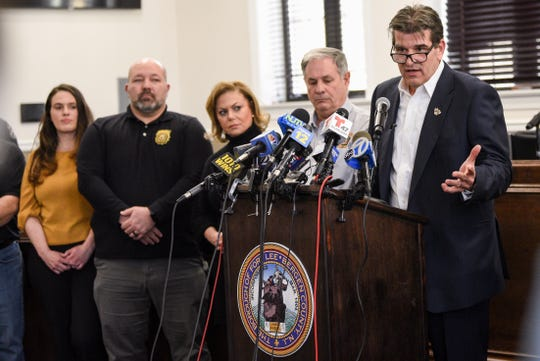 Fort Lee Mayor Mark Sokolich speaks during a press conference about the COVID-19 virus in theFort Lee Borough Hall on Thursday March 5, 2020.