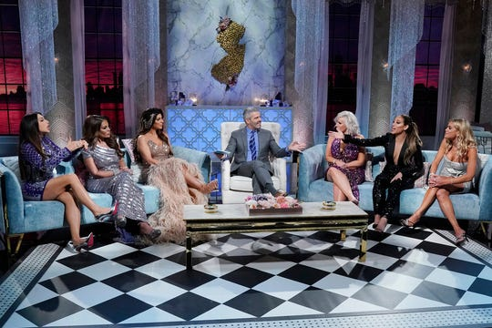 """The Real Housewives of New Jersey"" Season 10 reunion with  (l-r) Jennifer Aydin, Dolores Catania, Teresa Giudice, Andy Cohen, Margaret Josephs, Melissa Gorga, Jackie Goldschneider."