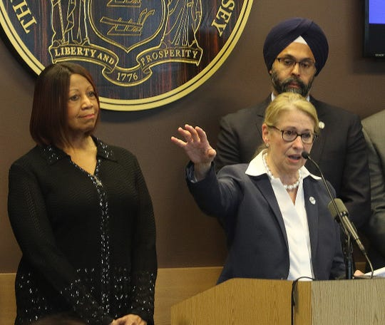 Lt. Governor Sheila Oliver with NJ Department of Health Commissioner, Judith M. Persichilli during a press conference along with NJ Attorney General Gurbir Grewal  held at NJ State Police Headquarters in West Trenton, NJ on March 5, 2020 by New Jersey officials concerning the recent discovery of a NJ resident who tested positive for the corona virus.