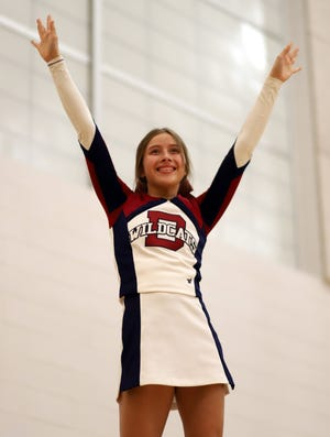 """Senior Wildcat Cheerleader Ayelen Moreno proudly wore her """"senior"""" bow during a recent Deming High School basketball game. The senior athletes were recognized on Senior Night during the course of the basketball season at Frank Dooley Court on the campus of DHS."""