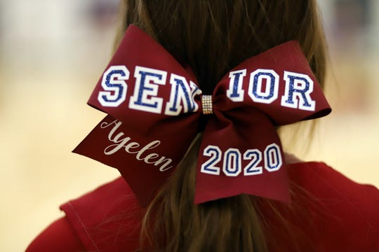 "Senior Wildcat Cheerleader Ayelen Moreno proudly wore her ""senior"" bow during a recent Deming High School basketball game. The senior athletes were recognized on Senior Night during the course of the basketball season at Frank Dooley Court on the campus of DHS."