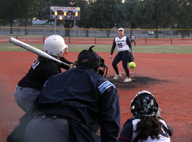 Junior Lady 'Cats pitcher Palmira Valentine (15) limited the Cobre High Indians to six hits while striking out two batters in a 9-0 season-opening victory Wednesday at E.J. Hooten Park
