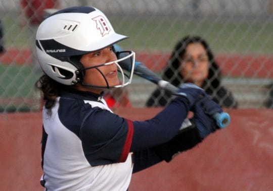 Sophomore Lady 'Cat Isis Olivas belted a two-run triple and scored three runs in Deming's 9-0 victory over Cobre High Wednesday in Deming.