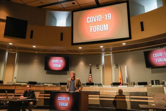 Dr. Michael Landen speaks at a press conference where The New Mexico Department of Health presents the latest information on the COVID-19 coronavirus and the department's role in preparing for it on Thursday, March 5, 2020 in Las Cruces.