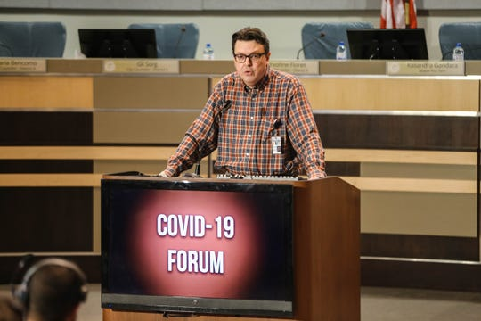 David Morgan speaks at a press conference where The New Mexico Department of Health presents the latest information on the COVID-19 coronavirus and the department's role in preparing for it on Thursday, March 5, 2020 in Las Cruces.