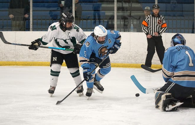 Spartan goalie Brenden Stroble, right, looks to cover up a shot on net by Novi Wildcat Maanas Sharma, left.