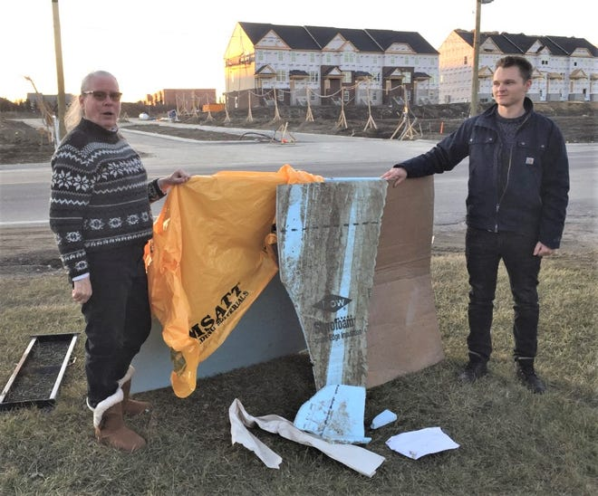 Plymouth resident Holly Smith and her neighbor Jonah Henderson have been picking up debris from the nearby Pulte contruction project for the past few weeks. One day there was 10 times the amount of debris pictured here, Smith said.