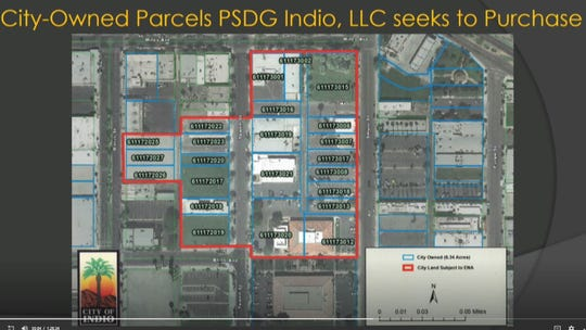 A screenshot of the 23 Indio-owned parcels in a 6.34 acre of downtown officials intend to redevelop into an entertainment, retail and business district. This area is bordered by Miles Avenue, Smurr Street, Bliss Avenue and Oasis Street. Indio City Council approved an Exclusive Negotiating Agreement Wednesday, as part of its plans to redevelop this area.
