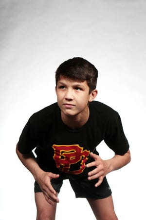Palm Desert wrestler Beau Mantanona is photographed at The Desert Sun in Palm Springs, Calif., on March 4, 2020.