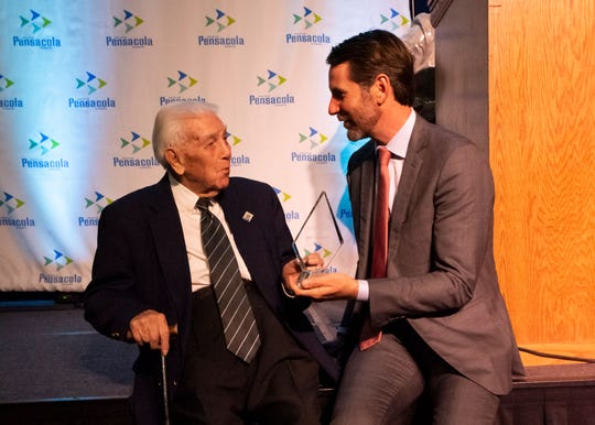 Historian John Appleyard, left, received the Pioneer Award at the Greater Pensacola Chamber's 2020 PACE Award ceremony Wednesday.