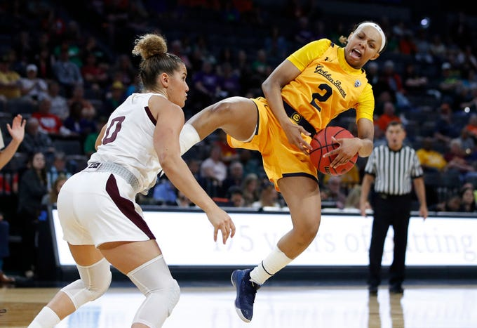 Arizona State's Taya Hanson (0) attempts to steal the ball from California's Cailyn Crocker (2) during the second half of an NCAA college basketball game in the first round of the Pac-12 women's tournament Thursday, March 5, 2020, in Las Vegas. (AP Photo/John Locher)