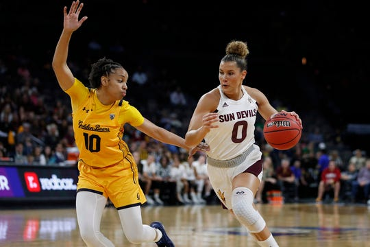 Arizona State's Taya Hanson (0) drives around California's Jazlen Green (10) during the first half of an NCAA college basketball game in the first round of the Pac-12 women's tournament Thursday, March 5, 2020, in Las Vegas. (AP Photo/John Locher)