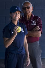 Jessica Parra Bonilla (left), the coach for the Casteel high school softball team, is the daughter of Rocky Parra (right), the coach for Hamilton high school softball.