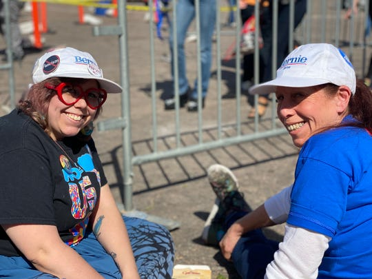 Mother and daughter Eileen Inglesby and Cassandra Inglesby pose for a photo as they wait for the Bernie Sanders rally to begin on March 5, 2020.