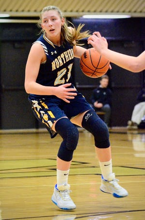 Port Huron Northern's Ally Shagena dribbles against Macomb Dakota in a Division 1 girls basketball district semifinal game on Wednesday, March 4, 2020.