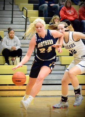 Port Huron Northern's Jersey McGregor dribbles against Macomb Dakota in a Division 1 girls basketball district semifinal game on Wednesday, March 4, 2020.