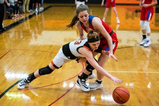 Marine City's Morgan McConnell (forward) and St. Clair's Julia Schweihofer go for a loose ball during the MHSAA Division 2 district semifinal match Wednesday, March 4, 2020, at Marine City High School.